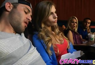Blonde babe Sydney Cole seduced into fucking at the movies