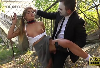 Teen with small tits Silvia Dellai gets a rough outdoor doggy fuck