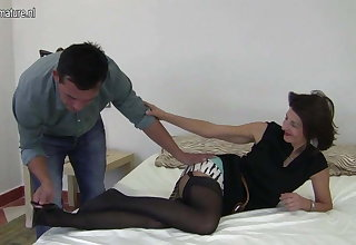 Hairy British mature mom fucking her boy