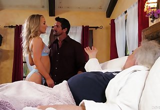 Whore wife Kate Kennedy is fucked by horny lover in front of old feeble husband