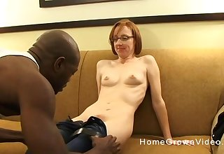 Naughty cougar gets to suck and ride a huge black shaft