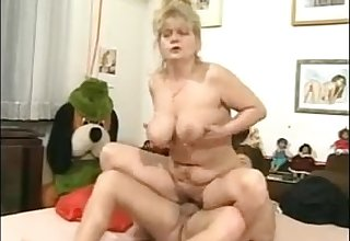 Chubby granny back huge exasperation rides young throbbing cock