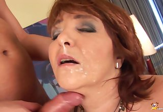 chubby curvy redhead jocular mater enjoys the brush first big cock anal fucking