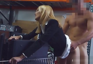 Blonde milf sucks gone and gets drilled give storage room