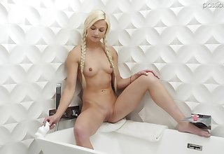 After she takes a shower Morgan Rain gets her pussy pouned off out of one's mind a dude