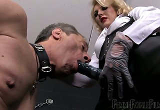 Dominant auburn old bag Mistress Akella gonna use strapon to punish dude